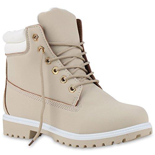 Stiefelparadies Damen Herren Unisex Worker Boots Profil Robuste Stiefeletten Outdoor Schuhe Glitzer Schnürer Print Schuhe Übergrößen Flandell Hellgrau Weiss