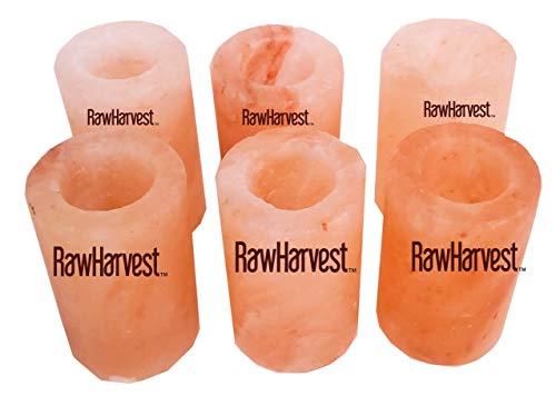 RawHarvest Himalayan Pink Salt Tequila Shot Glasses 6 Pack of 3,25