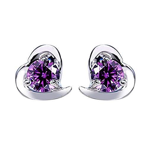 Alvade Love Purple zircon Earrings, Elegant Silver-Plated Stud Earrings Girl Jewelry by Alvade (Image #9)