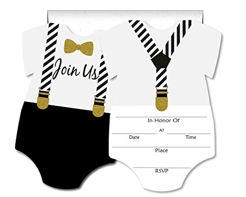 Formal Glam Little Man Blank Invites 10 Pack Fill In Invitations with Envelopes for Baby Shower 1st Birthday Black White Gold Tuxedo]()