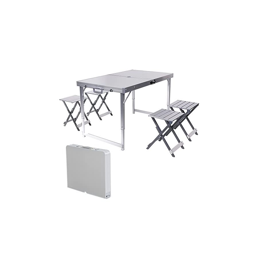 ROKOO Aluminum Portable Folding Table Sturdy And Lightweight Steel Frame Legs with 4 Separated Folding Chairs, 4 Adjustable Height Feet, for Indoor/Outdoor Use, Camping Picnic, Party Dining