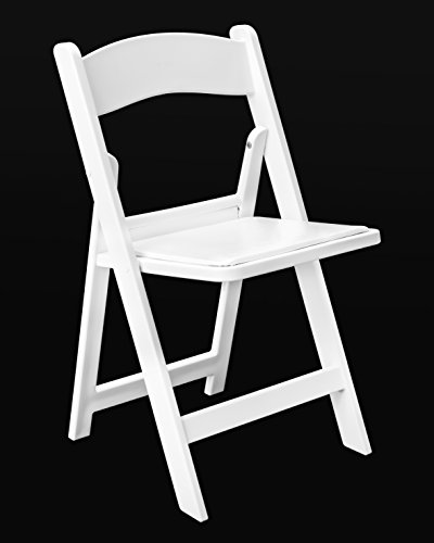 Resin Folding Chair with Vinyl Padded Seat Pack of 4 (White) by Lone Star Chairs