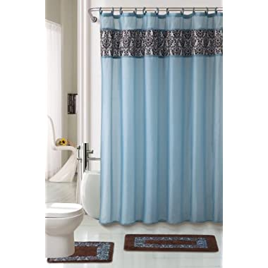 4 Piece Luxury Majestic Flocking Blue Bath Rug Set/ 3 Piece Bathroom Rugs with Fabric Shower Curtain and Matching Rings