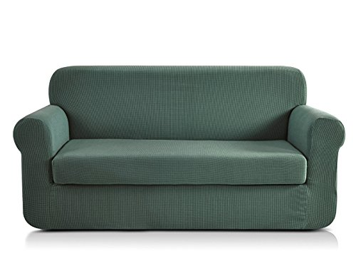 CHUN YI Jacquard Sofa Covers 2-Piece Stretch Polyester Spandex Fabric Couch Slipcover, 3 Seater Cushion Sofa Furniture Protector for Couch (Sofa, Dark Cyan)