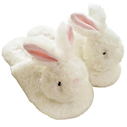 HALLUCI Women's Cozy Fleece Memory Foam House Trick Treat Halloween Slippers (7-8 M US, The Happy Bunny