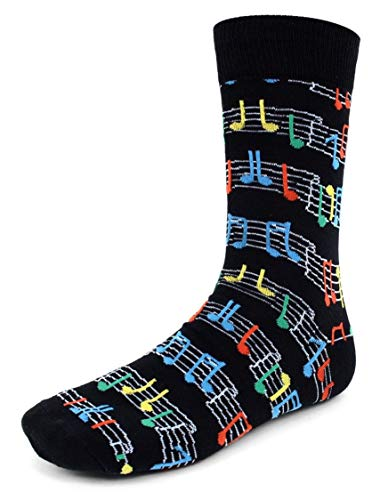 Men's Fun Crew Socks, Sock Size 10-13 / Shoe Size 6-12.5, Great Holiday/Birthday Gift (Colorful Sheet - Note Music Socks