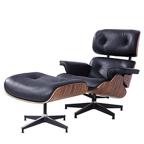 - Style Rosewood Lounge Chair and Ottoman Set in Black Top Grain Leather
