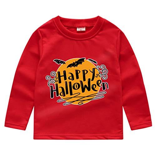 Toddler Kids Long Sleeve T-Shirt,Crytech Baby Boy Girls Trick Or Treat Pumpkin Ghost Skull Print Pullover Sweatshirt Halloween Theme Costume Fall Winter Tee Shirts (3-4 Years, Red)