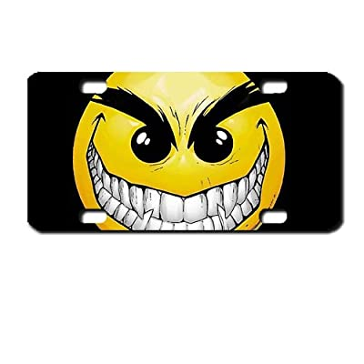 Creepy sinister Smiley Face Mini License Plate motorcycles, ATVs, bicycles and kiddie cars. Great Gift Idea