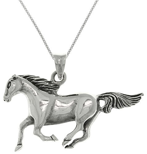 - Jewelry Trends Sterling Silver Mustang Running Horse Pendant Necklace 18