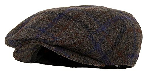 (Men's Premium Wool Blend Snap Brim Newsboy Cabbie Cap Hat (Large, Plaid Brown))