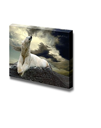 wall26 - Canvas Prints Wall Art - White Polar Bear Hunter on The Ice in Water Drops | Modern Wall Decor/Home Decoration Stretched Gallery Canvas Wrap Giclee Print. Ready to Hang (24