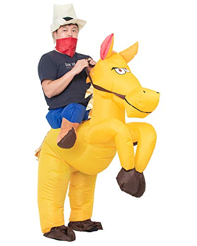 JYZCOS Inflatable Cowboy Costume Western Fancy Dress for Men Women Halloween Party Suit (Adult Golden)]()