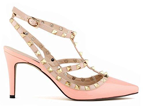 Minetom Damen Wies High Heels Niet Spleiß Gürtelschnalle Stöckelschuhen Die Füße Schuhe Pumps Partei Frühjahr Sommer Herbst Mode Rosa