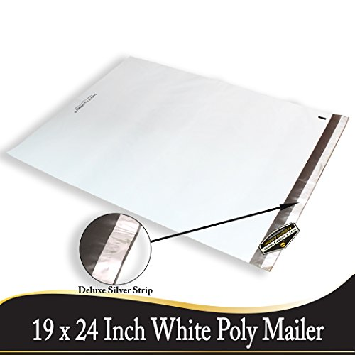 100 Pack of Mighty Gadget (R) Deluxe Silver Strips Poly Mailers 19x24 inch Shipping Envelopes Bags (White)