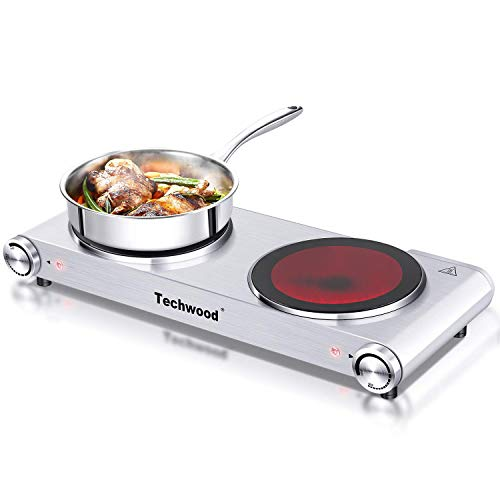 Cooking With Electric Stove - Techwood Hot Plate Electric Burner Countertop Burner Double Burner Infrared Ceramic Double Cooktop Cast Iron Outdoor Electric Stove 1800W (900W & 900W) with Adjustable Temperature Control Brushed Stainless Steel Easy To Clean Upgraded Version
