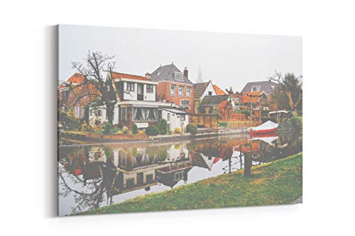 Canal Houses Path and Boat in Edam Netherlands - Canvas Wall Art Gallery Wrapped 18