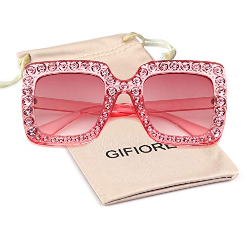 Oversize Square Crystal Sunglasses Women Luxury Brand Designer Shades Sunglasses ()