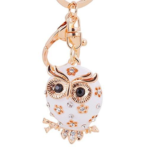 Reizteko Enamel Owl Keychain Crystal Keyring Rhinestones Purse Pendant Handbag Charm (White)