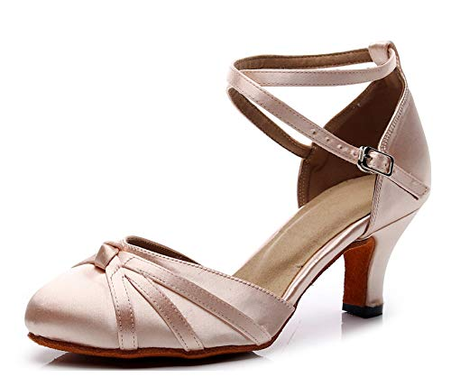 - Minishion Women's Latin Ballroom Closed Toe Nude Satin Dance Shoes Wedding Evening Party Pumps US 8.5