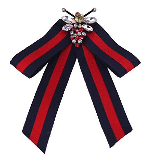 Fashion Women Pre-Tied Neck Tie Rhinestone Crystal Brooches Pin Clip Ribbon Wedding Party ByCajoy (Red+Blue5)