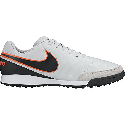 Nike Mens Tiempo Genio II Leather TF Turf Soccer Cleat (Pure Platinum, Black)
