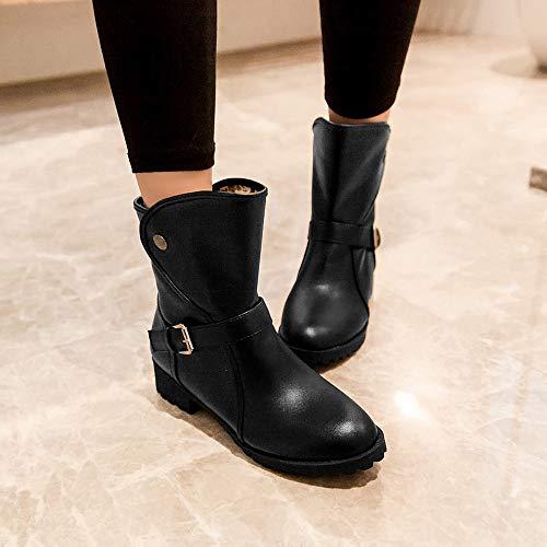 Mode Rond Chaud Pour 2019 Botte Au Zahuihuim Garder Loisirs Chaussures À Bas Les Chaussure Courte Bout Boucle Nouvelle Ceinture De Black Talons Femmes 76fygIvYb