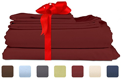 Queen Size Sheet Set - 6 Piece Set - Hotel Luxury Bed Sheets - Extra Soft - Deep Pockets - Easy Fit - Breathable & Cooling Sheets - Wrinkle Free - Comfy - Burgundy Bed Sheets - Queens Sheets - 6 PC (Lights Lots Big Christmas)