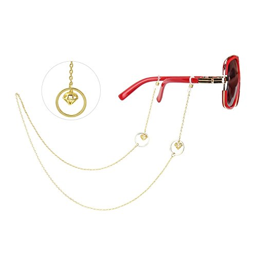 WeimanJewelry Gold Circle Pendant Hollow Diamond Eyeglass Chain for Women