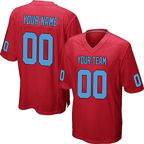 Custom Men's Red Mesh Football Jersey Big & Tall Stitched Team Name and Your Numbers,Blue-Black Size 4XL
