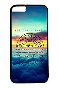 iPhone 6 Plus Case, Customized Slim Protective Hard PC Black Case Cover for Apple iPhone 6 Plus(5.5 inch)- Rainbow Rain