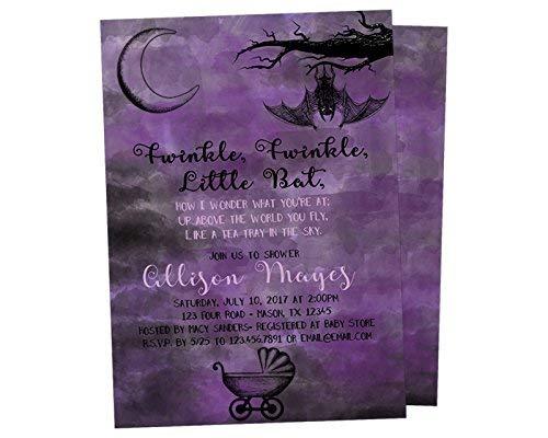 Alice in Wonderland Goth Baby Shower Invitations Twinkle Twinkle Little Bat Purple Black]()