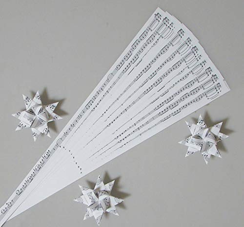 Paper Strips for Weaving Projects. Paper Strips for Moravian Stars, German Stars and Frobel Stars. Musical Notes Pattern. 50 strips per pack. 1/2 inch x 19 inch in Size
