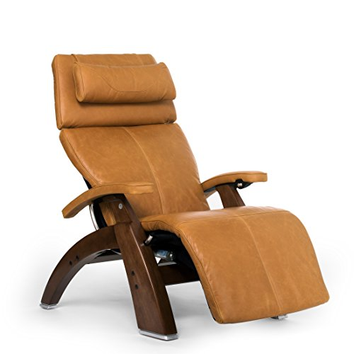 Perfect Chair Human Touch PC-610 Omni-Motion Series 2 Power Recline Walnut Wood Base Zero-Gravity Recliner - Sycamore Premium Leather - In-Home White Glove Delivery