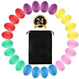 SOTOGO 24 Pack Maracas Eggs Plastic Egg Shakers Set Maracas Eggs Shakers With Drawing Bags For Kids Party Favors Musical Toys,6 Colors