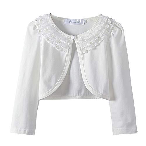 Girls Lace Shrugs Bolero Long Sleeve Cardigan Dress Cover Up 2-10 Years Ivory ()