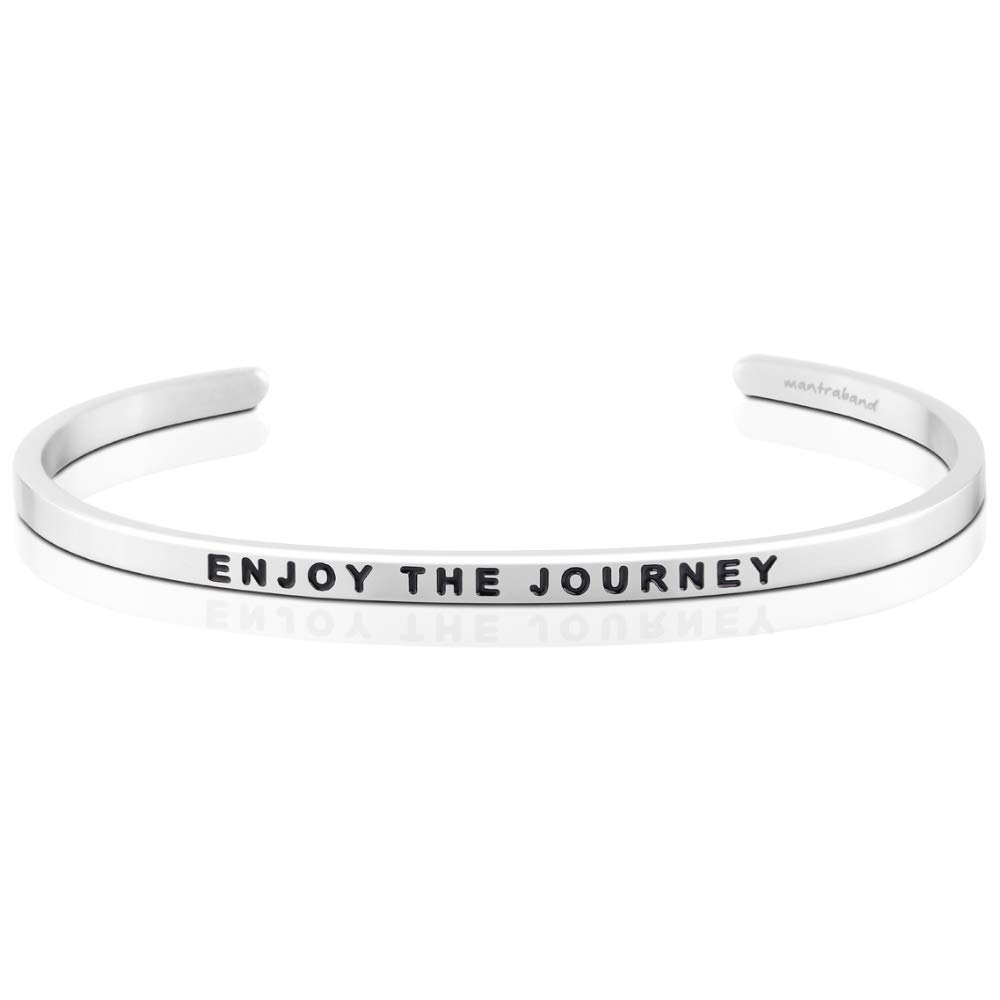 MantraBand Bracelet - Enjoy The Journey - Inspirational Engraved Adjustable Mantra Cuff - Silver - Gifts for Women (Grey)