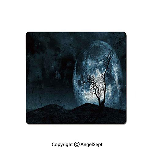 Best Selling Mouse Pad,Night Moon Sky with Tree Silhouette Gothic Halloween Colors Scary Artsy Background,Premium-Textured Mouse Mat,Non-Slip Rubber Base Mousepad for Laptop,Computer & PC,8.26x10.23 ()