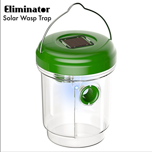 Eliminator Solar Powered Outdoor Wasp Trap Catcher with Ultraviolet LED Light – Traps Wasps, Bees, Yellow Jackets, Hornets, Etc. - Effectively Attracts, Traps and Retains Bees Until They Dehydrate