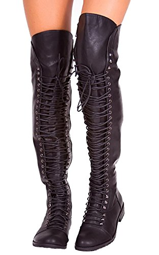 Womens Thigh High Lace Up Flat Combat Boots By Fashare