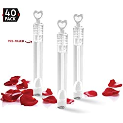 40 Pack Mini Heart Bubble Wands – Great Wand Bubbles Party Favors For Weddings and Anniversaries by Big Mo's Toys