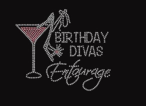 Birthday Divas Entourage with Martini Rhinestone Iron on Transfer ()