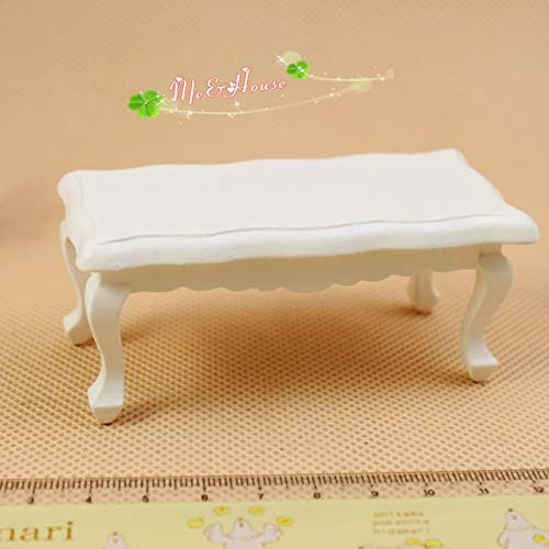 1:12 Scale Dollhouse Miniature White Coffee Table Living Room Furniture; Wide 3.74