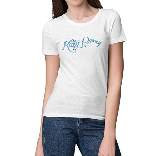 Wolves Women's White Cotton Short Sleeve Katy Perry Logo Fashion T-Shirts (Best Bbq In Katy)