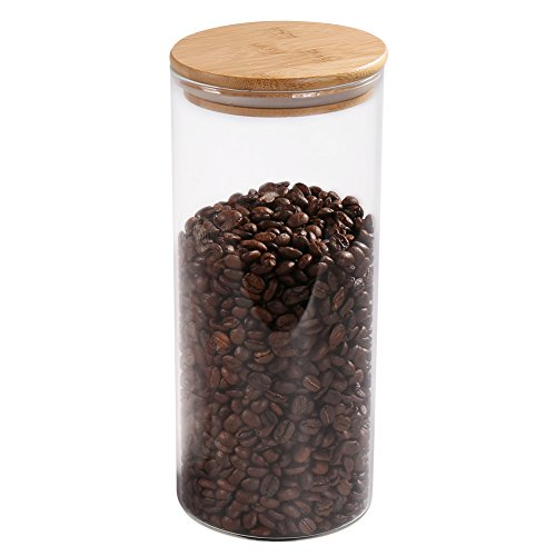 Glass Coffee Bean Container, 52.36 FL OZ (1550 ML), 77L Glass Food Storage Jar with Airtight Seal Bamboo Lid - Modern Design Clear Glass Food Storage Canister for Serving Tea, Coffee, Spice and More (Coffee Airtight Storage)