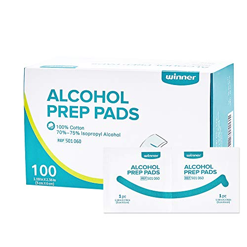 """- Winner Sterile Alcohol Prep Pads, 4-Ply Square Cotton Pads Well-Saturated in Alcohol, 100 Alcohol Wipes (1.18"""" X 2.36"""")"""