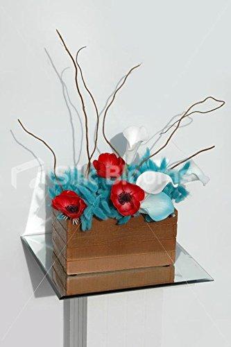 Amazon Red Anemone Aqua Calla Lily Trough Vase Table Display