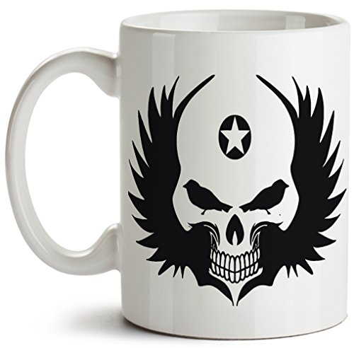 Cool! Scary Black Winged Skull With Star On Forehead, White Ceramic Funny Novelty Coffee Mug, 11 ounces, - Eye Winged Cat Glasses