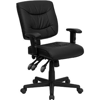 Amazoncom Flash Furniture Mid Back Black Leather Multifunction