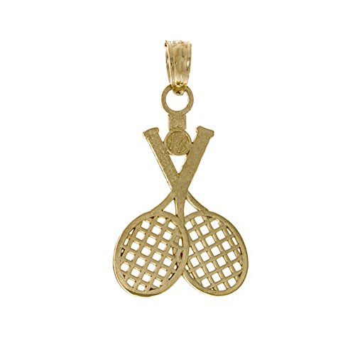 14k Yellow Gold Sports Charm Pendant, Double Tennis Racket with Ball ()